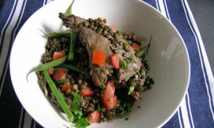 Bradley Smoked Rabbit Leg with Warm Lentil Salad