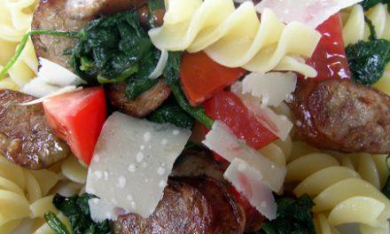 Bradley Smoked Italian Sausage, Spinach and Fresh Tomato with Pasta
