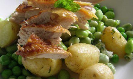 Smoked Guinea Fowl, Cornish New Potato & Mixed Bean Salad with Mint